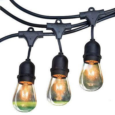 Royal Light Outdoor String Lights 48 ft Thick Bulb with Hanging Sockets Grade –