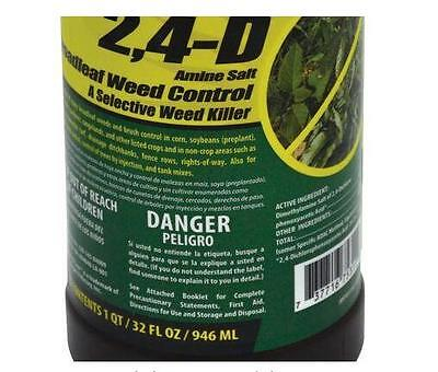 1 Acre Areas Lawn 32 oz. 2, 4 D Broadleaf Weed Control Garden Lawn Weed Killer
