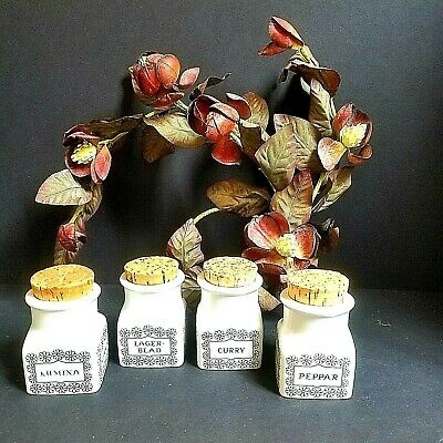 Arabia Finland Spice Jars Scandinavian Vintage Retro Canisters Set of 4 #143