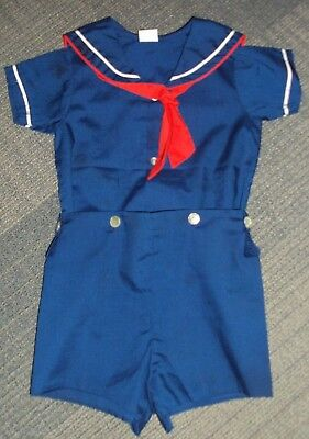 VINTAGE BOYS NAVY BLUE SAILOR SUIT BY BRYAN Red & White Accents Shirt Shorts2T