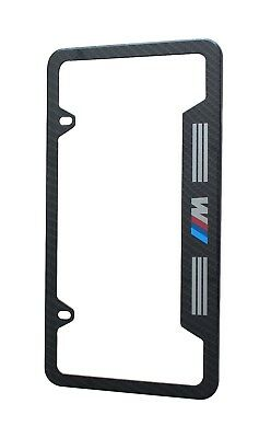 """BMW License Plate Stainless Steel Frame with Carbon Fiber """"M Logo"""""""
