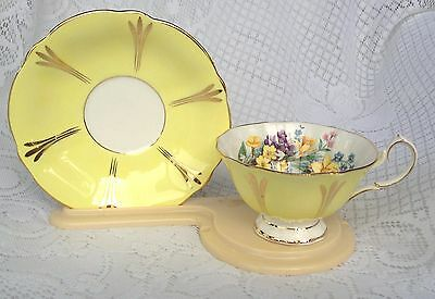 Queen Anne - Beautiful Spring Floral Yellow/Gold  Tea Cup & Saucer (200)