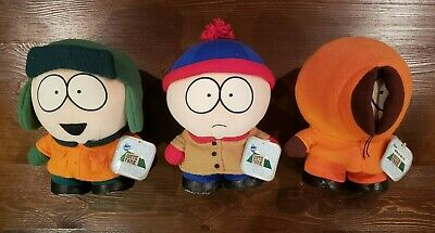South Park Vintage Plush Dolls 1998 - Lot / Set of 3 with Tags - Kenny Kyle Stan
