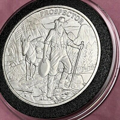 Prospector Donkey Old Western Town 1 Troy Oz .999 Fine Silver Round Coin Medal