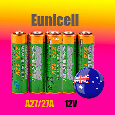 5 x A27 Eunicell 0%Hg 12V 27A Battery Batteries Garage Car Remote Alarm