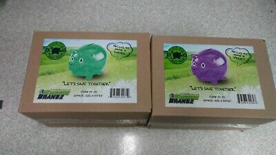 Purple/green Plastic Piggy Bank Translucent New 6 By 9 By 6 Violet And Lucre