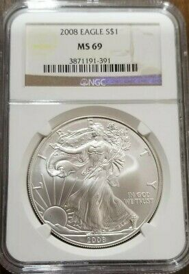 2008 American Silver Eagle BU 1 oz Coin US $1 Dollar MS69{{Father Z collection}}