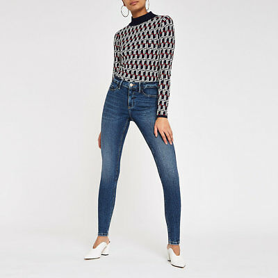 ex-River Island Dark blue Molly lined jeggings (7360)