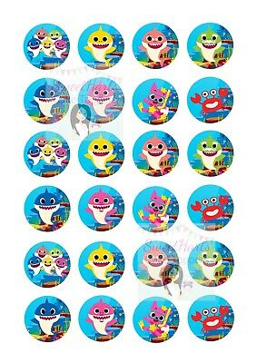 48x GREAT WHITE SHARK PREMIUM EDIBLE DECOR WAFER PAPER FAIRY CUPCAKE TOPPERS D1
