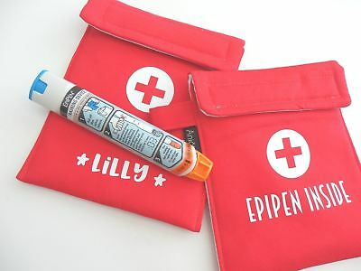 Personalised Insulated Medicin Case/ EpiPen Holder/ Medicine Bag-Red