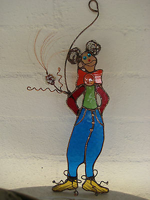 leadlight suncatcher -  glass clown - stained glass blue,green,red,honey,clear