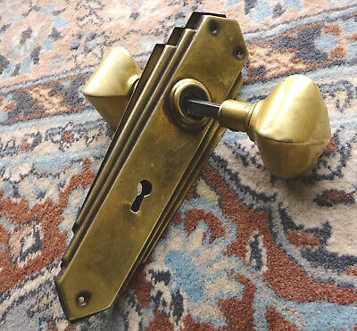 Vintage Art Deco Brass Door Knobs and Plates Fully Working