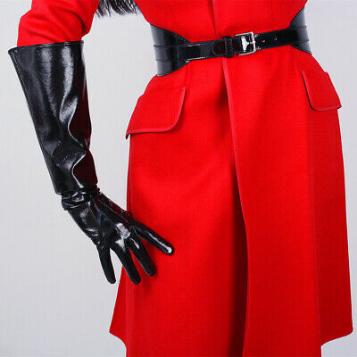 PATENT LONG GLOVES Unisex Faux Leather Elbow 50cm Wide Sleeves Large Shine Black