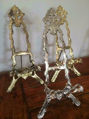 """BRASS NICKEL BRONZE EASEL 25cm PLATE DISPLAY PICTURE PHOTO STAND WEDDING B04-10"""""""