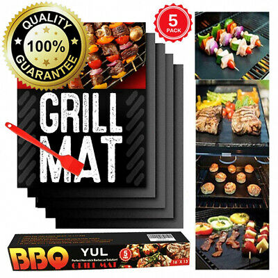 YUL BBQ Grill Mat Set of 5-Non Stick Oven Liner Teflon Cooking...