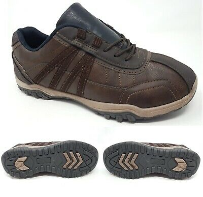 Mens Casual Brown Lace Up Hiking Grip Sole Walking Driving Trainers Shoes Size