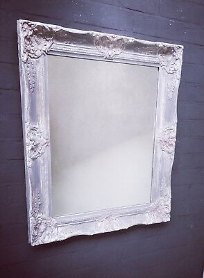 Grey painted mirror with ornate frame hand painted large shabby chic