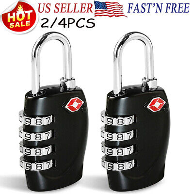 2/4 x TSA Approve Lock Luggage Travel Suitcase Security Locks 4 Dials Combinatio
