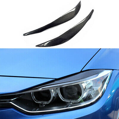 Real Carbon Fiber For 2012 18 Bmw F30 3 Series Headlight Eyebrow