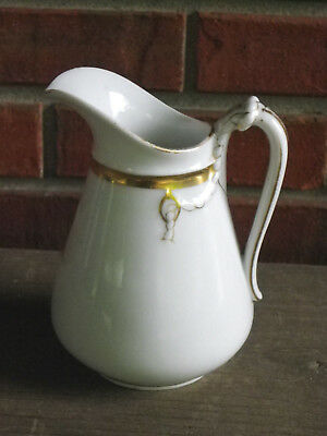 "Antique 5 3/4"" Haviland Limoges Pitcher-White & Gold-Rope Design-1876-1889"