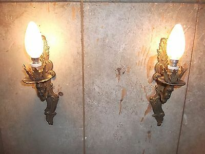 French a pair of patina  bronze wall light sconces nicely antique
