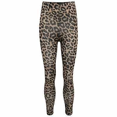 New Girls Stretch Leopard Tartan Check Stripe Wet Look Printed Leggings 7-13 Yrs