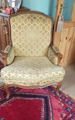 Antique Armchair Louis xv style Luxury French   Gold Damask. Delivery available