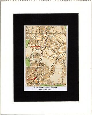 MAP ~ STREATHAM & ENVIRONS London by GEOGRAPHIA~ Mounted 1923
