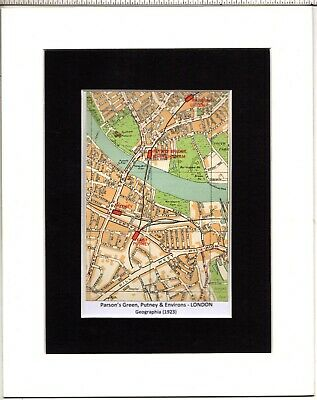 MAP ~ PARSON'S GREEN, PUTNEY & ENVIRONS London by GEOGRAPHIA~ Mounted 1923