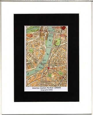 MAP ~ WATERLOO, VAUXHALL, THE OVAL London by GEOGRAPHIA~ Mounted 1923