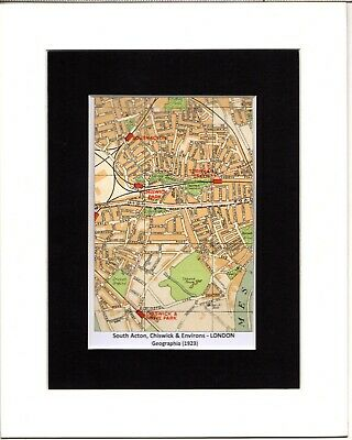 MAP ~ SOUTH ACTON, CHISWICK & ENVIRONS London by GEOGRAPHIA~ Mounted 1923