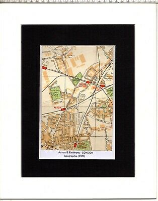 MAP ~ ACTON & ENVIRONS London by GEOGRAPHIA~ Mounted 1923