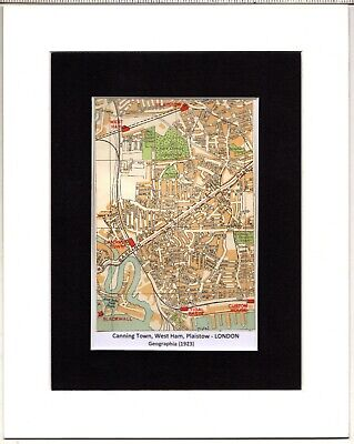 MAP ~ CANNING TOWN, WEST  HAM, PLAISTOW London by GEOGRAPHIA~ Mounted 1923