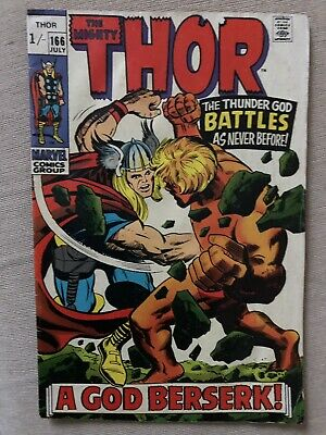 Thor #166 Silver Age Marvel Comics Stan Lee VG WITH 2ND APPEARANCE OF WARLOCK