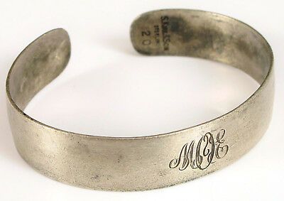 Antique S Kirk & Son Wide Cuff Bracelet 20 Sterling Silver Signed Simple Small