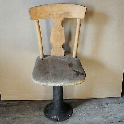 Vintage Antique Child Desk Chair with Wood Seat & Cast Iron Stand