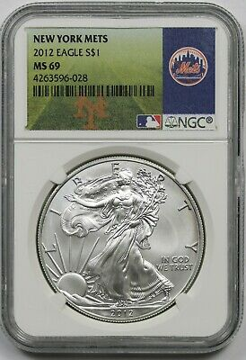 2012 MLB Series American Silver Eagle $1 MS 69 NGC New York Mets Label