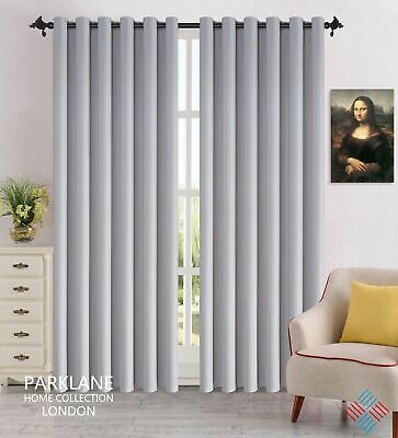 Silver Luxury Thermal Blackout Window Curtains Eyelet Ring Top with Tie Backs