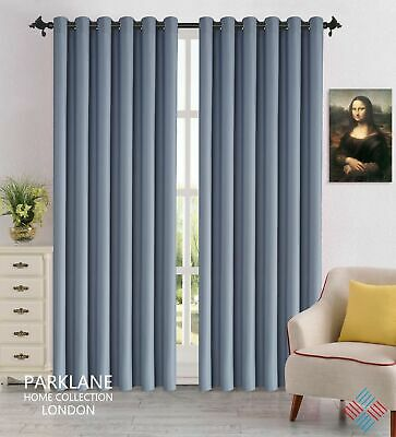 Grey Luxury Thermal Blackout Window Curtains Eyelet Ring Top with Tie Backs