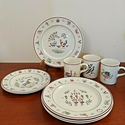 JOHNSON BROTHERS TWELVE DAYS OF CHRISTMAS DISHES LOT 9 Pieces- VINTAGE - ENGLAND