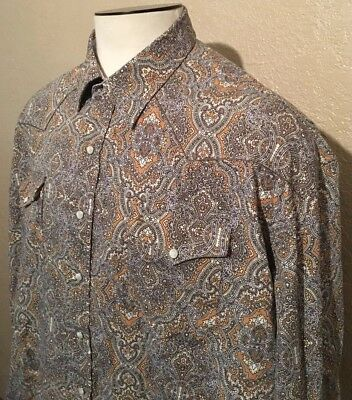 83bb125a Stetson Men's Size 3XL Cotton Pearl Snap Paisley Long Sleeve Western Shirt  XXXL