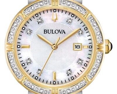 Bulova 98R260 30mm 24 Diamonds Accented Two-Tone Women's Watch Brand New