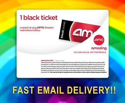 🔴AMC Theaters 1 BLACK Movie Ticket Voucher! Fast Email Delivery! No exp! 🎥