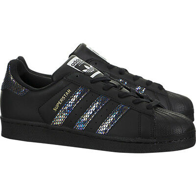 NIB ADIDAS SUPERSTAR J Youth Shoes Black Size 4.5 Y Rare Chameleon Snake Stripes