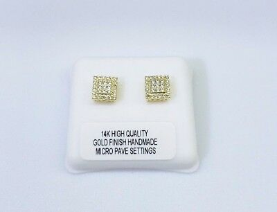 14Kt High Quality Gold Finish 2Ct Micro Pave Si1 Clariyy Crystals Screw Back