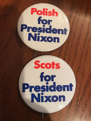 Polish and Scots for President RIchard Nixon campaign button pinback Lot of 2