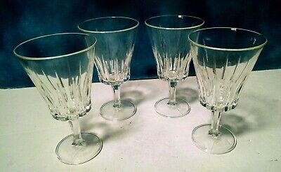 "Set of 4 Lead Crystal Water Wine Glasses 7"" Tall 4"" Diam. Faceted Stems Vintage"
