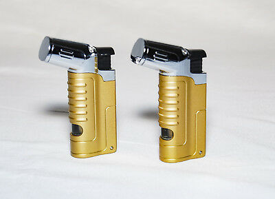 2 Pack Triple Jet Flame Butane Torch Lighter Refillable Windproof w/ Cigar Punch