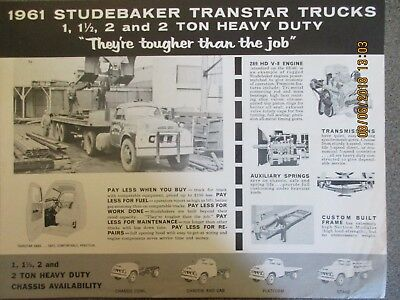 ORIGINAL RARE 1961 Studebaker Transtar Trucks Advertising Fact Sheet Brochure