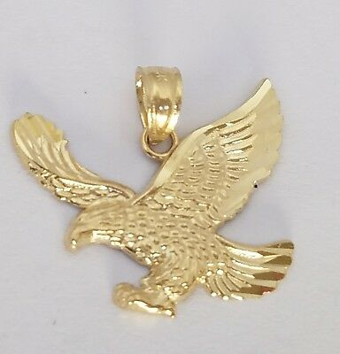 14K Real Solid Beautiful Eagle Charm Pendant Yellow Gold 2.1grams 42mmX30mm